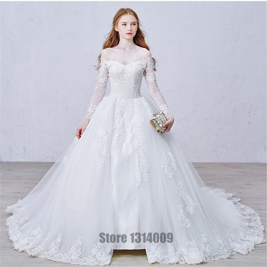 2016 New Vintage Wedding Dresses With Bateau Long Sleeve Cool Muslim ...
