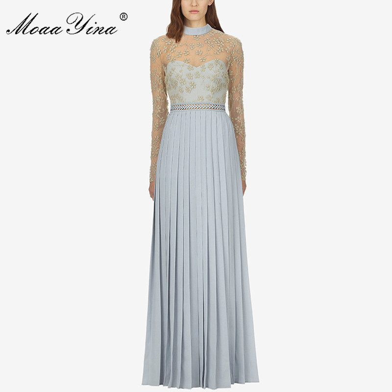 MoaaYina Fashion Runway Dress Spring Women Mesh Long sleeve Stand collar luxurious Gold Line Embroidery Beading Maxi Dresses