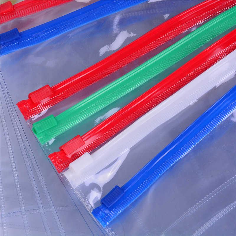 Portátil claro a6/a5/a4 arquivo de papel pasta livro lápis caneta caso saco bolsa plástico escola material de escritório lápis saco 1 pc
