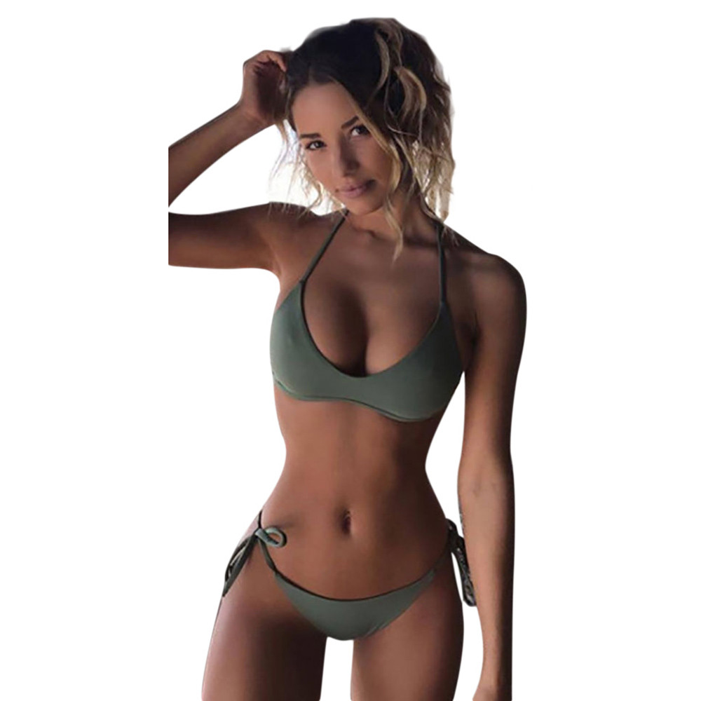 2018 WomenSet Swimwear Push-Up Padded Solid Bra Swimsuit Beachwear Bra Swiming Suit Beach crochet Set