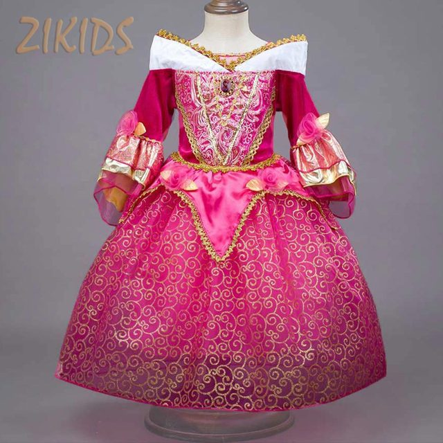 Noble Sleeping Beauty Girl Dress Anna Elsa Cosplay Costume for Party Festival Girls Princess Aurora Dresses Kids Clothes 2016