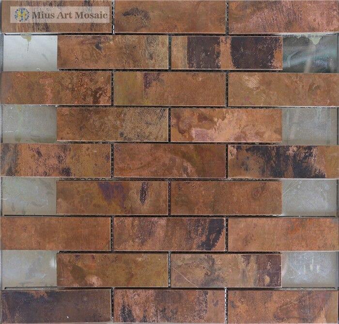 strip metal tiles copper mosaic tile backsplash a6yg80 on