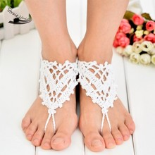 Loviw fresco hechos a mano corazones forma de encaje de ganchillo hecho punto para el tobillo del verano mujeres pulsera de tobillo del pie de la joyería bohemio sandalias descalzas