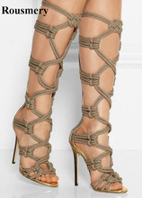 Western Style Women Fashion Open Toe Rope Design Knee High Gladiator Boots Stiletto Heel Long Cut-out Sandal Boots