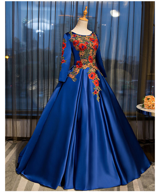 Free ship100% real royal blue matte satin cosplay ball gown medieval ...