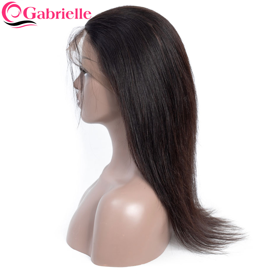 Gabrielle Lace-Frontal-Closure Human-Hair Straight Hair-360 Brazilian with Free-Part