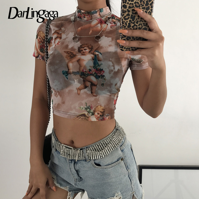 Darlingaga Fashion Cupid print mesh top female t-shirt transparent short sleeve sexy crop tops sweet Angel t shirt cropped tees Top