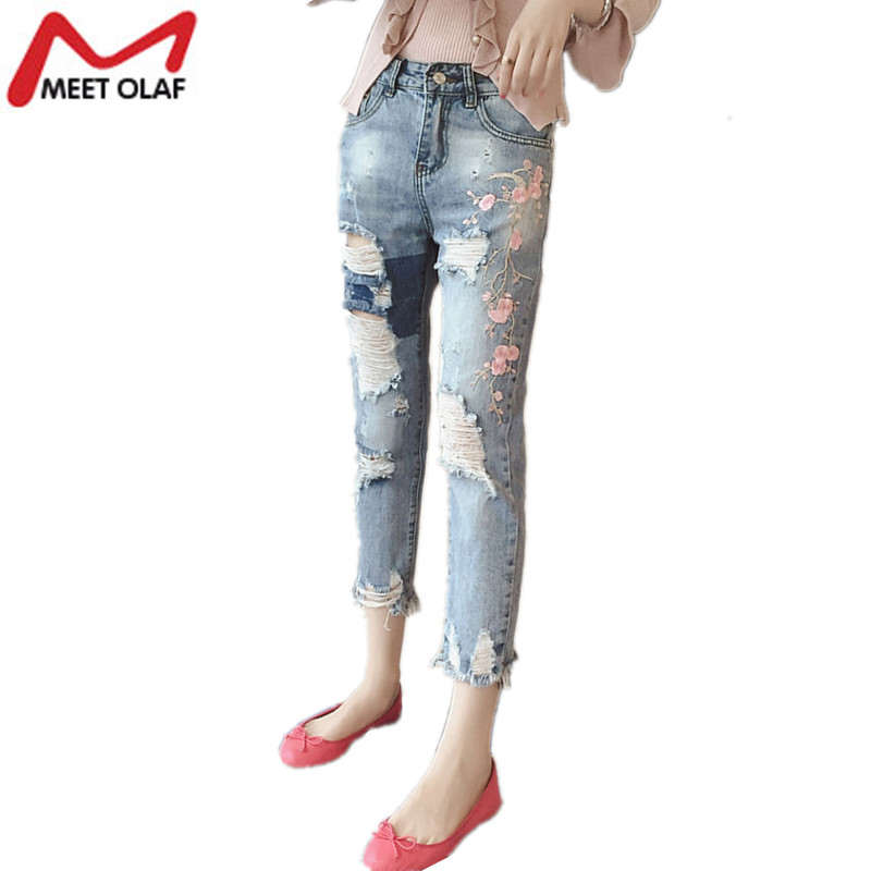 Women Jeans with embroidery vintage bleached Ripped denim ankle length Trousers Harem pants tassels pantalon femme mujer YL607 new summer vintage women ripped hole jeans high waist floral embroidery loose fashion ankle length women denim jeans harem pants