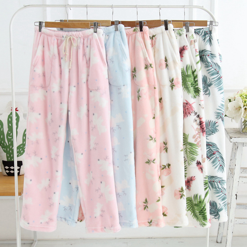 Winter Sleep Bottoms Flannel Fleece Pajama Pants Ladies Casual Trousers Floral Long Loose Lounge Homewear Women Plus Size XL  5