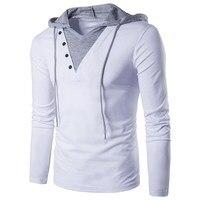 2017 Brand New Men S Hooded Sling T Shirt Long Sleeve Tees Male T Shirt Slim
