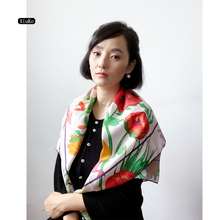 [XiuKe]scarves 2018 new  fashion women Luxury Square silk scarf,lady shawl ,hair scarf, blue and pink