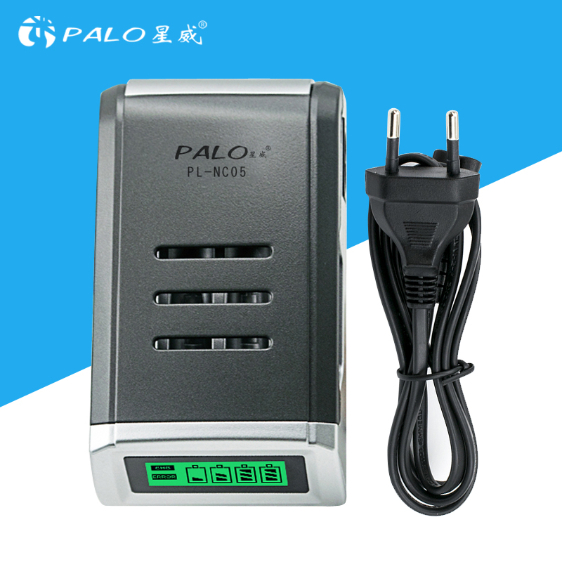 PALO LCD Quick Charger with 4 Slots LCD Display Smart Intelligent Battery Charger for AA / AAA NiCd NiMh Rechargeable Batteries 5 5 x 2cm lcd multifunctional intelligent digital 4 x aa aaa batteries charger black us plug