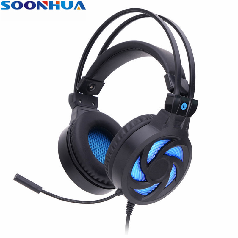SOONHUA 3.5mm Wired Earphone LED Light Gaming Headset Stereo Headphone Professional Gamer PC Gaming Headphone With HD Mic 2.2m