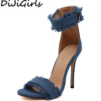 Super Sexy High Heeled Sandals Rome Fashion Denim Ankle Buckle Tassel Sandals