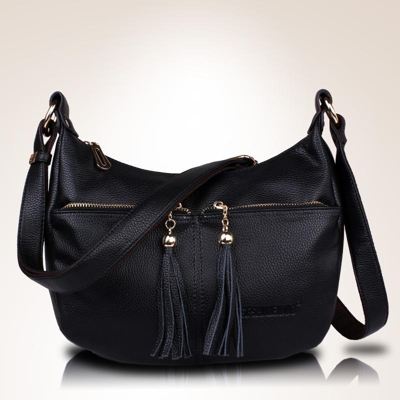 Women\'S Genuine Leather Handbags Shoulder Crossbody Bags Tassel Messenger Bags Hobos Women Bags