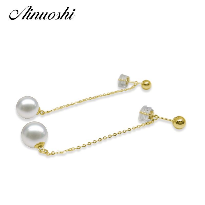 AINUOSHI Princess 18K Solid Yellow Gold Cross Chain Drop Earrings Natural Freshwater Pearl 7.5-8mm Round Pearl Drop Earrings faux pearl rhinestoned oval drop earrings