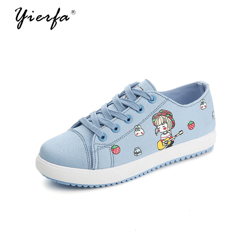 spring new canvas shoes female flat students high shoes Korean cartoon shoes wild casual shoes