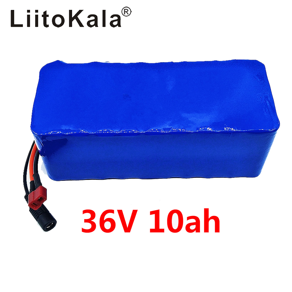 LiitoKala 36V 10ah 500W 18650 lithium battery 36V 8AH Electric bike battery with PVC case for electric bicycle 42V 2A charger in Battery Packs from Consumer Electronics