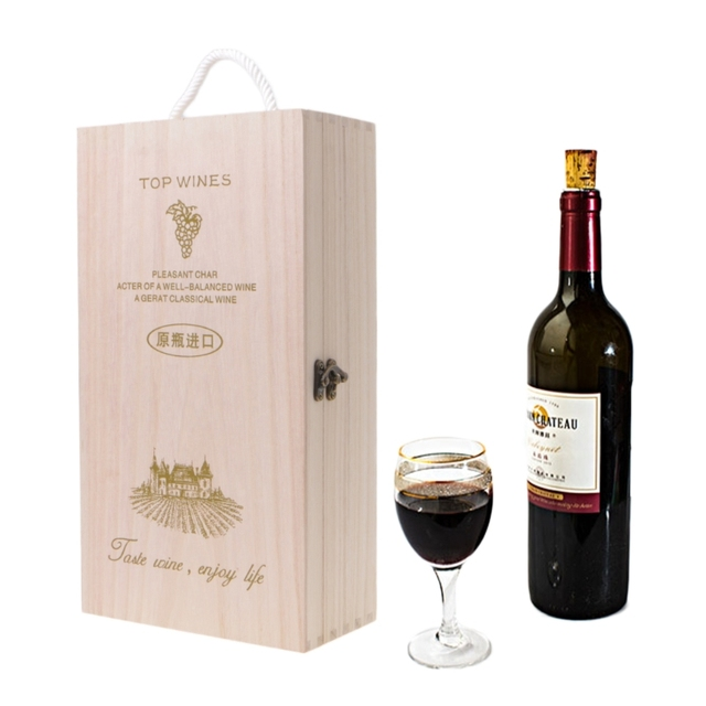 5dec7dc6b550e New High-Quality Manufacturers Pine Wood Red Wine Carrier Gift Packing Box  2018 Fashion Storage Box Wooden Wine Box
