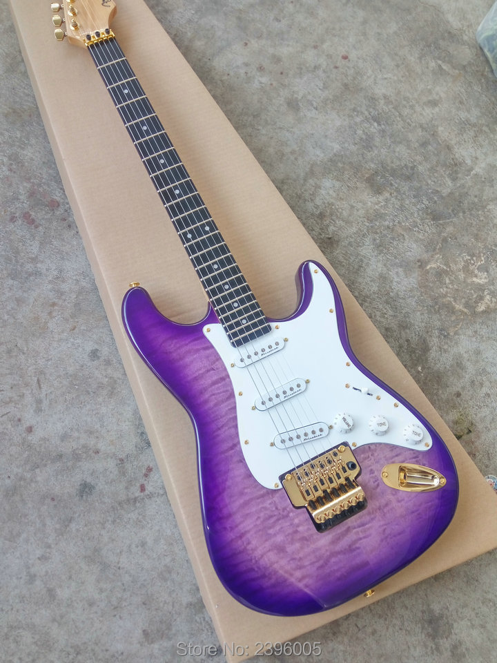 Custom Shop purple st electric guitar with flame maple cover gold hardware st guitar Ebony Fingerboar high quality free shipping 3ts with pickups custom shop acoustic guitar free shipping custom made it direct manufacturer beautiful and wonderful j 200