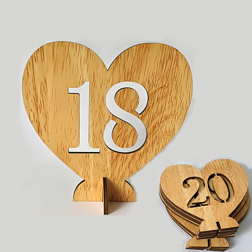 1-20 Wooden Table Numbers Holders Heart Design Number Plate Decorations Wedding Seat Signs Birthday Party Table Direction Sign