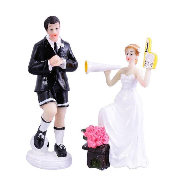 Pair Of Soccer Theme Wedding Cake Topper Bride And Groom , Elegant And Romantic Cake Topper Wedding Idea