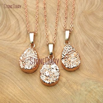 10Pcs Electroplating Rose Gold Pear Shape Chains Necklaces Druzy Crystal Chains Necklaces For Sale 18inch NM15760