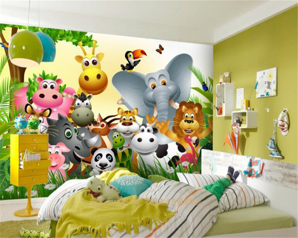 Beibehang Customized children room any size wallpaper cute animal happy jungle children room background wall wallpaper mural