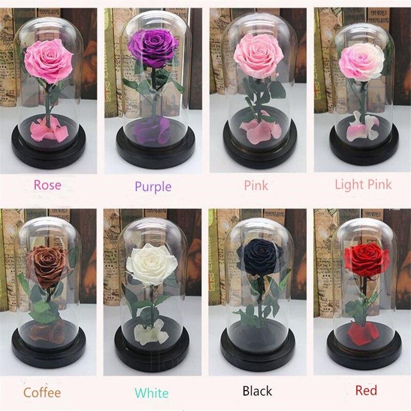 Forever Rose fleur Festive préservée immortelle frais Rose en verre fête des mères cadeau 10 couleurs disponibles-in Fleurs séchées et artificielles from Maison & Animalerie    1
