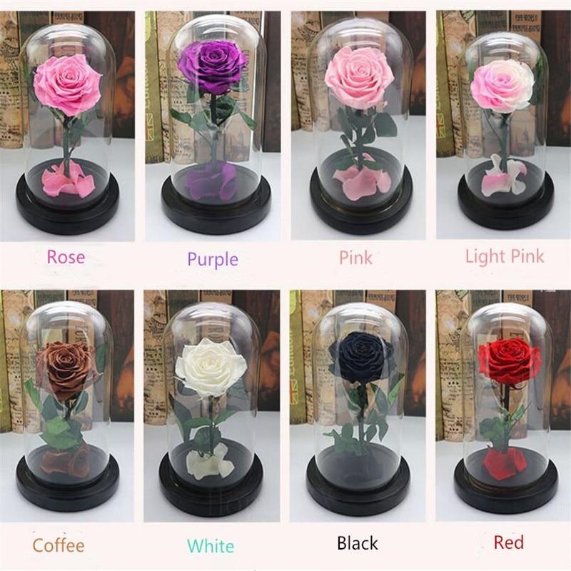Pour toujours Rose Fleur Fête Préservé Immortel Frais Rose En Verre Cadeau De Fête Des Mères 10 Couleurs Disponibles
