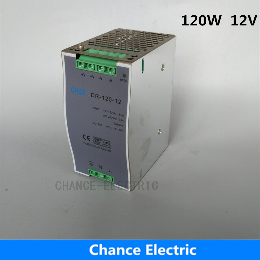 12v 10a 120w Single Output For Led Light DR120W-12V DIN Rail Switching Power Supply chux switching power supply 120w 12v small volume led strip light ac to dc ms 120w 12v single output 10a power suppyliers