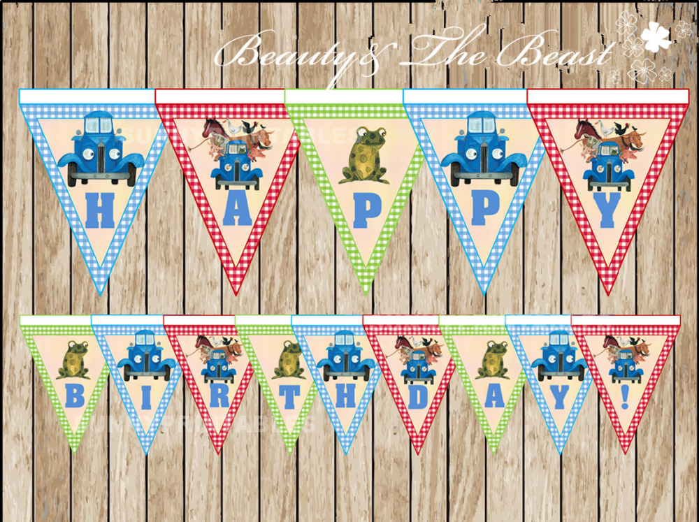 Little Blue Truck triangle Banner Baby Shower Birthday Party