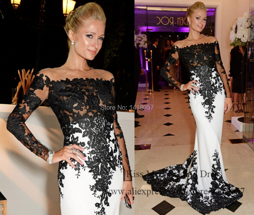 Elegant Black Lace Evening Dress Real Photo Mermaid Long Sleeve Red Carpet Dresses Special Occasion Robe De Soiree 2015