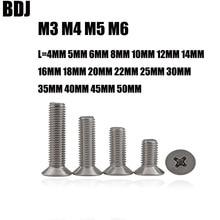 100 шт. GB819 M3 M4 M5 M6 Метрическая резьба 304 из нержавеющей стали с плоской головкой винт с потайной головкой 4-50 мм