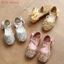 POSH DREAM Children s Kids Girls Shoes Summer Princess Gold Sequins Kids  Girls Wedding Shoes Leather Bowtie 9021d989deec