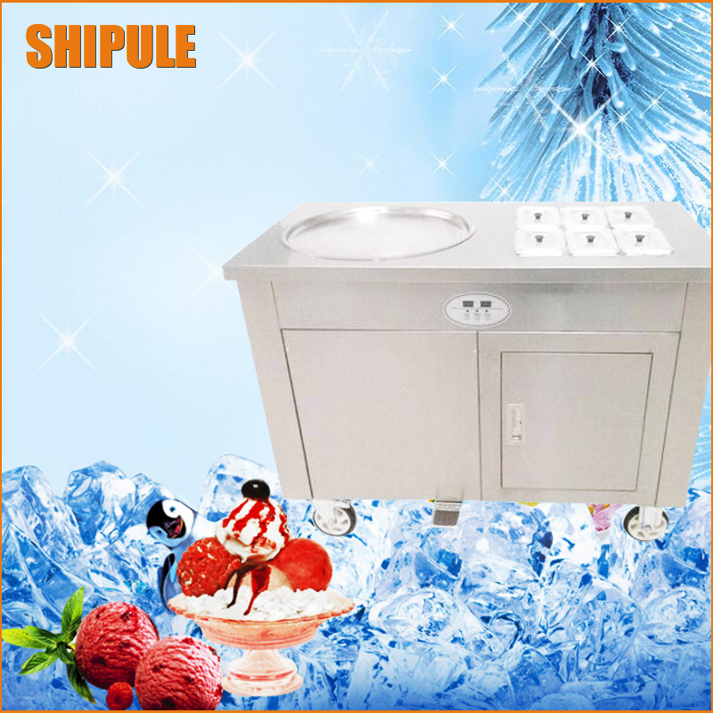 single pan Double compressor fried ice cream machine,stainless steel fried ice cream roll machine,Intelligent Fried ice machine ce fried ice cream machine stainless steel fried ice machine single round pan ice pan machine thai ice cream roll machine