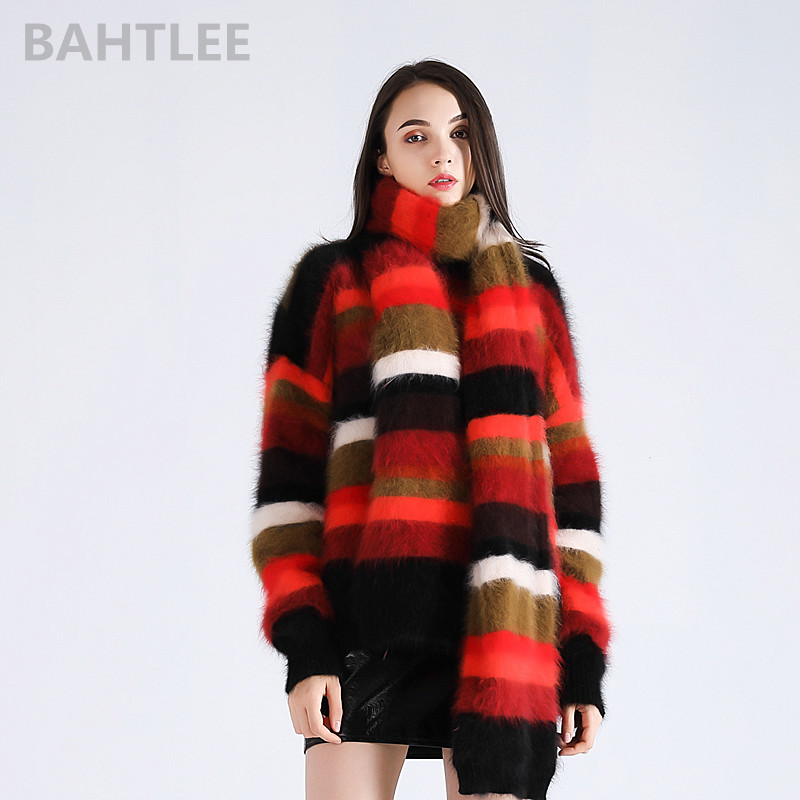 BAHTLEE 2018 Autumn winter women s angora rabbit pullovers Knitting sweater with scarf suit O NECK