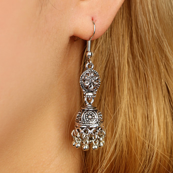 Fashion Vintage Carved Earrings Female Ethnic Jewelry Hollow Out Flower Bells Drop Earrings For Women Dangle Long Accessories