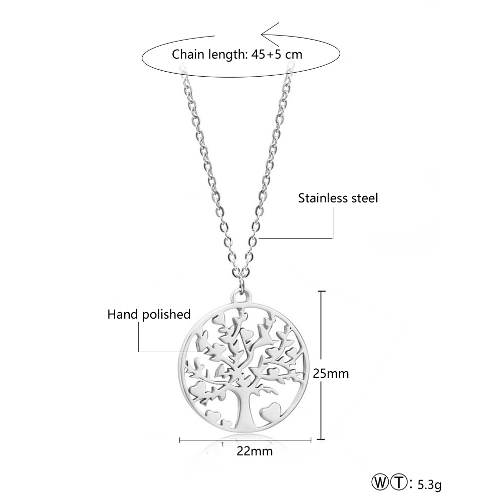 Hot Tree of Life Round Pendant Necklace High Quality Stainless Steel Pendant Gold Silver Rose Gold Women Jewelry Gifts in Pendant Necklaces from Jewelry Accessories