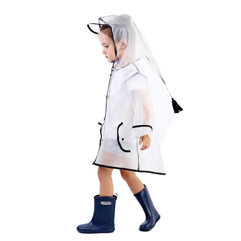2018 transparente impermeable de goma eva impermeable para niños niñas poncho resistente al viento Kindergarten niños bebé impermeable traje de lluvia