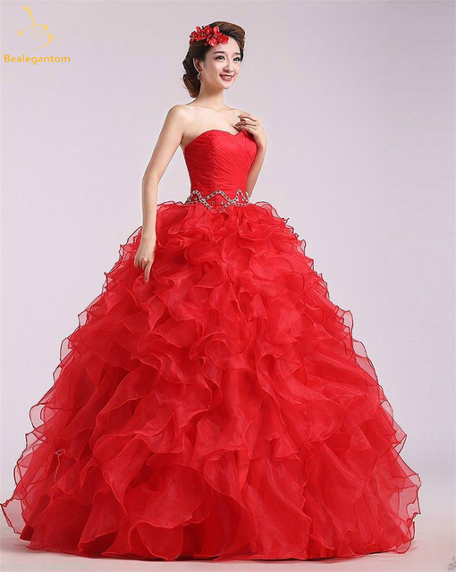 caaca3ce644 2018 New Red Ball Gown Quinceanera Dresses Beaded Sweet 16 Dress For 15  Years Formal Prom Party Pageant Gown QA1253