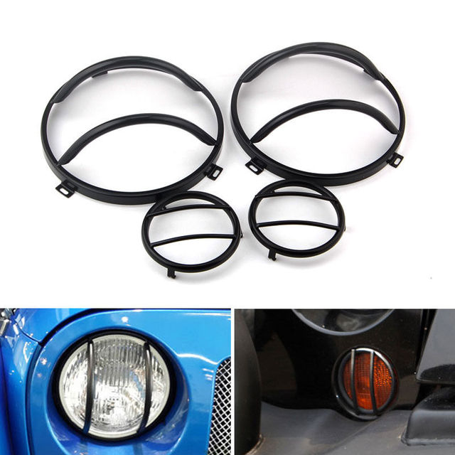 4x New Stainless Car Front Euro Guard Fog Light + Headlight Cover Protector Fit For JEEP Wrangler JK Car Styling Accessories