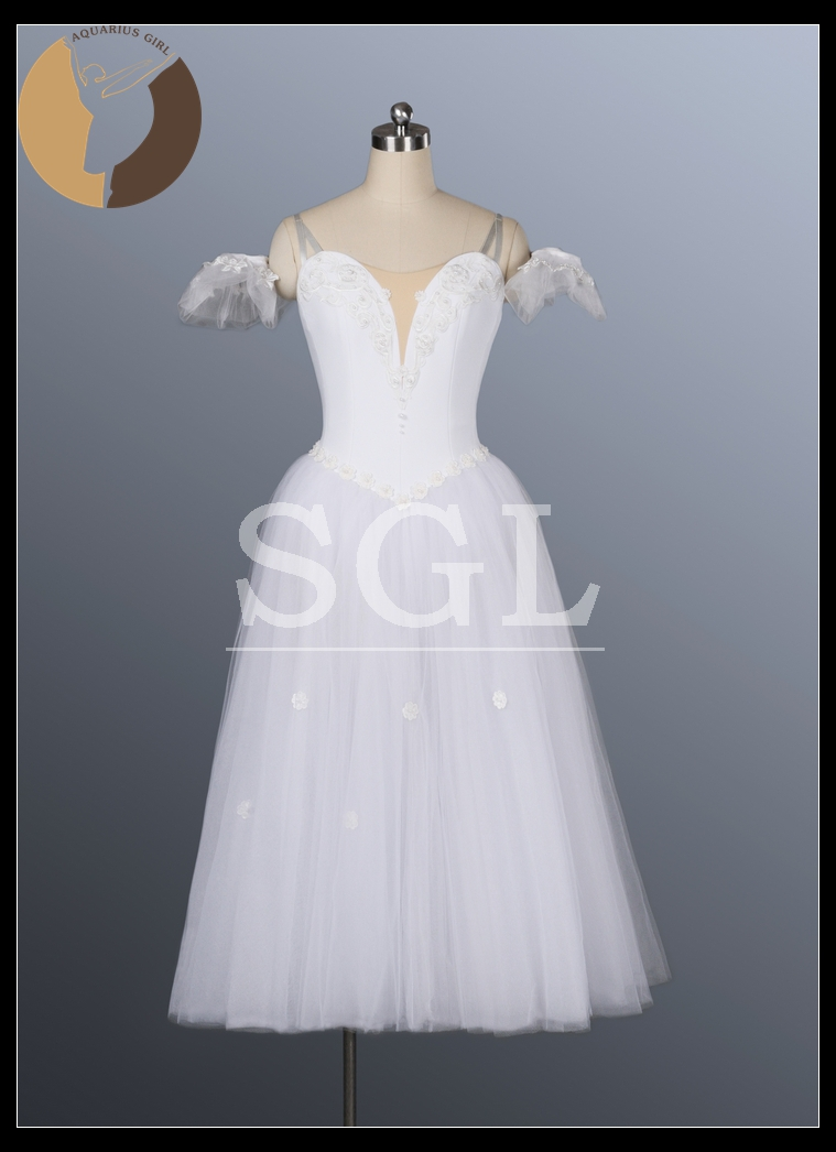 Free Shipping Women Long Skirts Fairy Dress For Ballet Performance Or Competition White Princess Wear Stage