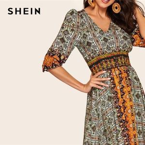 Image 4 - SHEIN Платье С Оборками И Этническим Принтом, Разноцветное Нарядное Макси Платье С Средним Рукавом