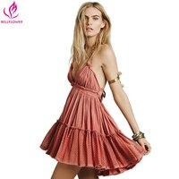 BellFlower 2018 Summer Bohemian Phụ Nữ Mini Dress Backless Bãi Biển Dress Kỳ Nghỉ Boho Strapless Sexy Bóng Gown Hippie Chic Dress