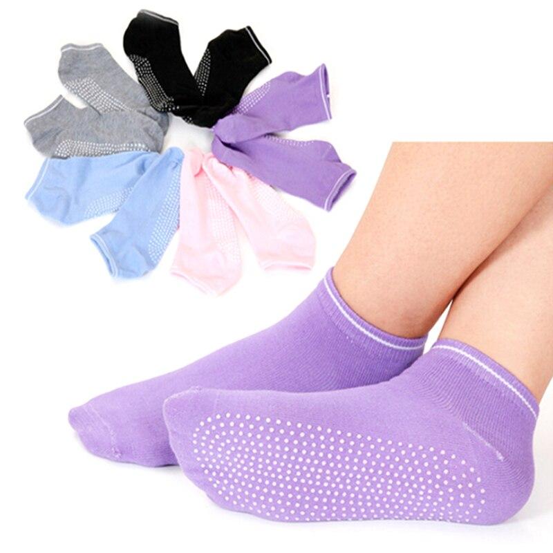 ①  1 пара дамы девушки женщины фитнес спорт пилатес йога нескользящей хлопчатобумажные носки оптом 6 цв ①