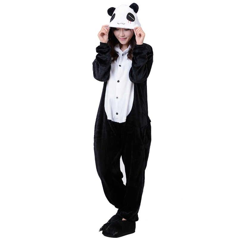 Взрослых Кигуруми панда дизайн комбинезоны пижамы мультфильм костюм женский  комбинезон зимние теплые с капюшоном комбинезон Рождественский 26f3d460e62ef