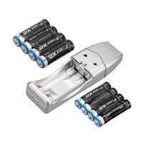 17 PCS a set! 1 Pcs Battery Charger + 8 Pcs 2000 Mah AA Battery + 8 PCS 1000 mAh AAA Rechargeable Battery
