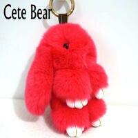 Cute Bear Brand Fluffy Rabbit Keychain Lovely Rabbit Fur Keychain Women Girls Gift Bag Bag Car