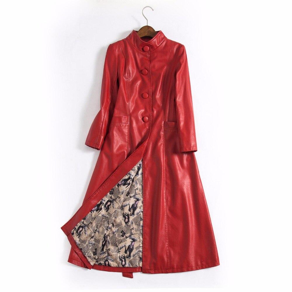 rouge Nouvelle En Manteau Longue Femme Noir Cuir Veste Pu Xxxxxl Grande Femmes Mode Balançoire ardoisé Oversize 2018 IwqtzT0a
